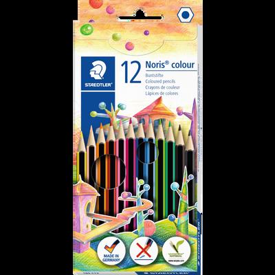 Crayon de couleur Noris Colour 185 STAEDTLER, Wopex Carbonne neutre, coloris assortis, 12 unités
