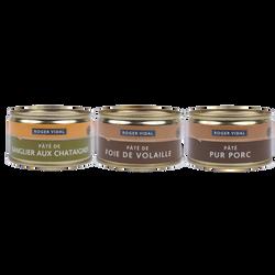 Pâtés 3 variétés sanglier châtaigne foie de volaille et pâte pur porcROGER VIDAL, 375g