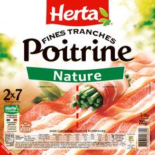 Poitrine Nature HERTA, 14 tranches fines, 2x100g ,200g