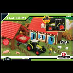 Coffret Ferme à assembler 1/32-contient des bâtiments à assembler avecfermier,animaux de ferme,tracteur Claas etremorques