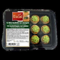 Mini feuilletés aux escargots recette à la Bourguignonne ESCAL, 12 pièces, 140g