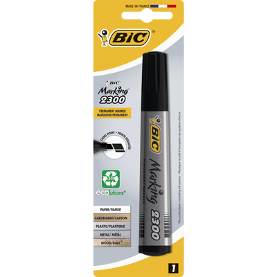 Marqueur permanent BIC 2300, pointe biseautée, encre à base d'alcool,corps plastique conique, noir, 1 unité