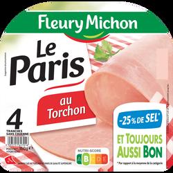 Jambon de paris au torchon sans couenne -25% sel FLEURY MICHON 4 tranches 160g