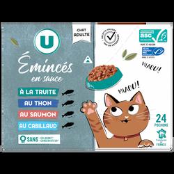 Emincés sauce pour chat truite, thon, cabillau, saumon, crevettes U, 24x100g