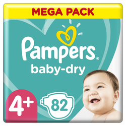 Couches baby dry PAMPERS 10-15kg megapack Taille 4+ x82