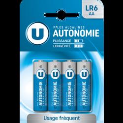 Piles U, Autonomie, LR6/AA, 4 unités