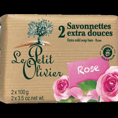 Savon extra doux rose LE PETIT OLIVIER, 2x100g