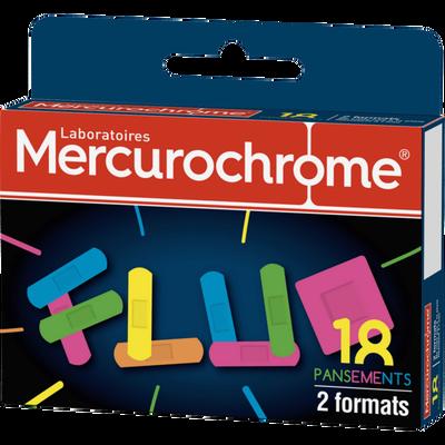 MERCUROCHROME PANSEMENTS FLUO, 2 tailles, 18 unités