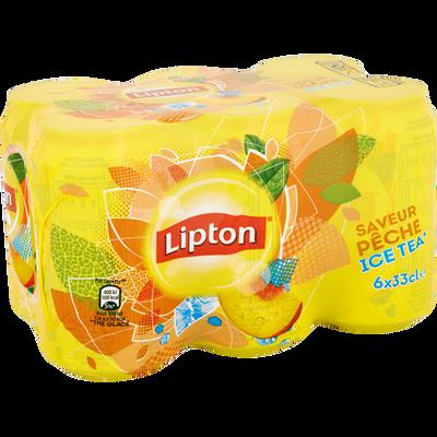 Thé glacé pêche Ice Tea LIPTON, pack 6x33cl