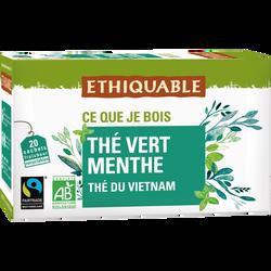 Thé vert menthe Vietnam Bio ETHIQUABLE, 20 sachets