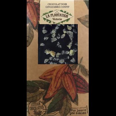 Chocolat noir gingembre confit, LA PLANTATION BOVETTI, tablette de 80g