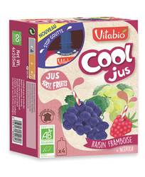 Jus de raisin et framboise bio Vitabio 4 gourdes de 105ml