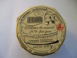 RILLETTES DE CANARD 20% DE FOIE GRAS GAILLARD BOCAL 180G