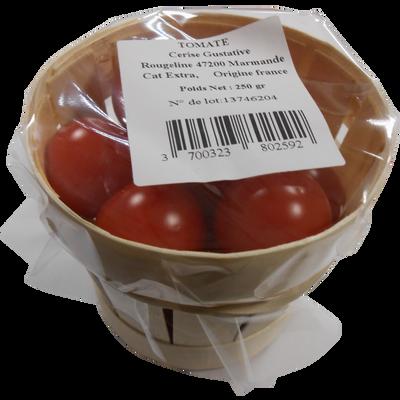 Tomate cerise, segment Les cerises rondes, catégorie Extra, France, bourriche, 250g