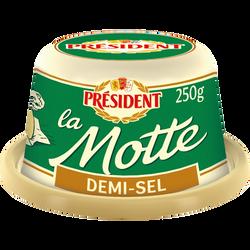 Beurre demi sel 80% de matière grasse la Motte PRESIDENT, 250g