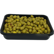 Olive verte dénoyautée farcie au poivron