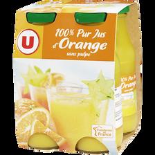 Pur jus orange U, 4 bouteilles en verre de 20cl