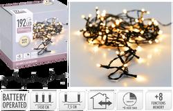 Guirlande 192 leds blanc chaud-led 5mm-fil noir-fil conducteur 50cm-7,5cm entre led-boitier 8 fonctions avec mémoire-minuteur-fonctionne a/3piles aa non incl.-int./ext