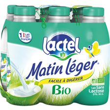 Lait UHT stérilisé sans lactose bio MATIN LEGER, bouteille 6x 1l