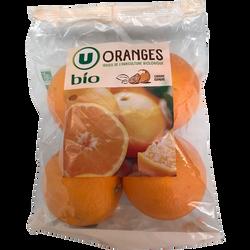 Orange Naveline, U BIO, calibre 5/6, catégorie 2, Espagne, sachet 4 fruits