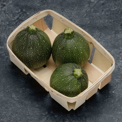 Courgette ronde, BIO, France, barquette 3 fruits