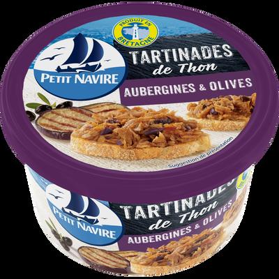 Tartinades de thon aubergines et olives PETIT NAVIRE, pot de 125g