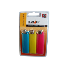 Briquets à pierre standard color sous blister FLAM'UP, x3