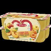 Materne Compote Allégée En Sucre Pomme / Pomme Abricot / Pomme Banane/ Pomme Pêche Materne, 16x100g