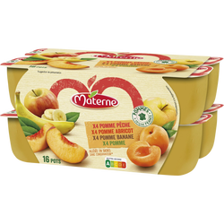 Compote allégée en sucre pomme / pomme abricot / pomme banane/ pomme pêche MATERNE, 16x100g