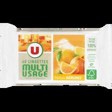 Lingettes multi-usages agrumes U, sachet de 40