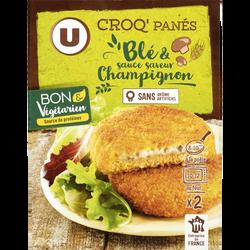 Croq'panés blé et saveur champignon U BON & VEGETARIEN, 2x100g