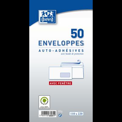 Enveloppes à fenêtre, 110x220mm, 50 unités