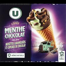 Cônes menthe chocolat U, 6x384g