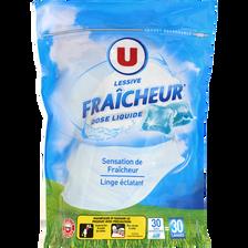 Lessive dose parfum fraîcheur U, 30 lavages, (24g)