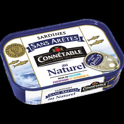 Sardine sans arêtes au naturel, CONNETABLE, boîte de 1/5, 98g