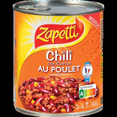 Chili con carne au poulet ZAPETTI, boîte de 800g