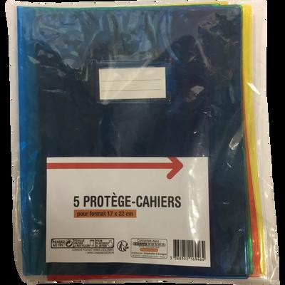 Protège cahier, 17x22 cm, transparent, pack de 5