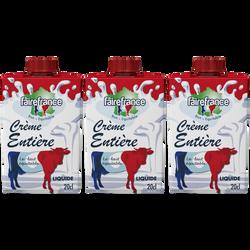 Crème UHT entière liquide 30% de MG FAIREFRANCE, 3x20cl