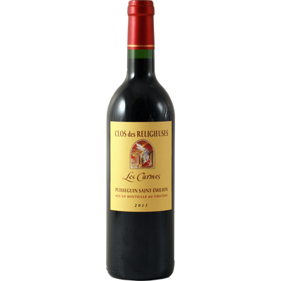 Vin rouge AOC Puisseguin Saint Emilion Clos des Religieuses les Carmes, 75cl