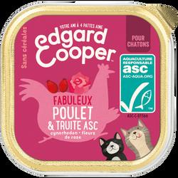Barquette naturelles sans céréales chaton poulet et truite asc EDGARD&COOPER, 85g