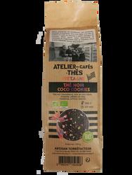 Thé noir coco cookies BIO, ATELIER DES CAFES ET THES, paquet 100g