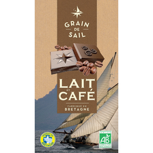 Tablette de Chocolat au lait et café Bio GRAIN DE SAIL, 100g