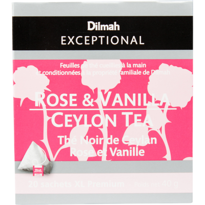 Thé noir de Ceylan rose et vanille DILMAH, sachet 40g