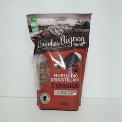 Muesli bio 3 chocolats CHARLES VIGNON sachet 375g
