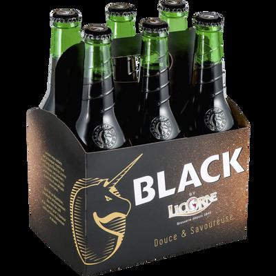 Bière brune LICORNE BLACK, 6°, 6 bouteilles de 33cl