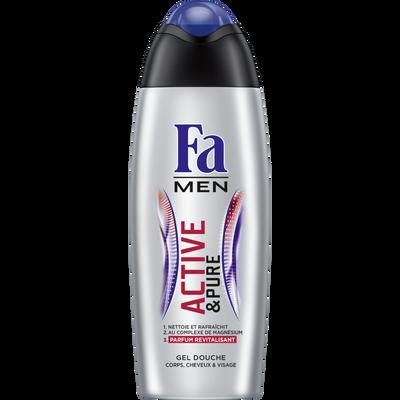 Douche men active&pure corps/cheveux/visage FA, flacon de 250ml