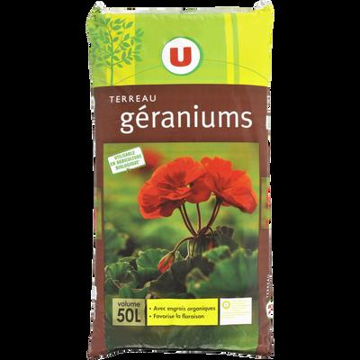Terreau géraniums U utilisable en agriculture biologique, 50 litres