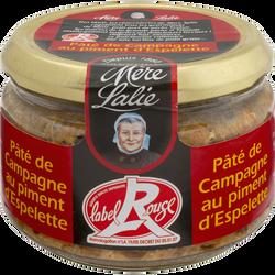 Terrine de pâté de campagne au piment d'Espelette MERE LALIE, 180g