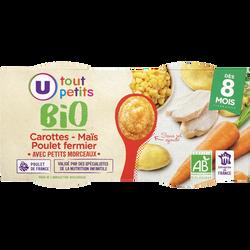 Bols carottes maïs poulet fermier avec morceaux Tout Petits Bio U, dès8 mois, 2x200g