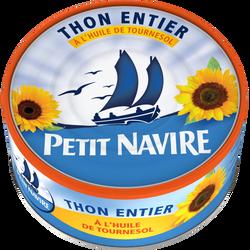Thon entier à l'huile de tournesol PETIT NAVIRE, 160g